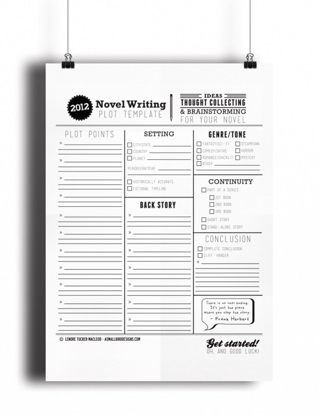 Novel Writing Template   Study Read Write