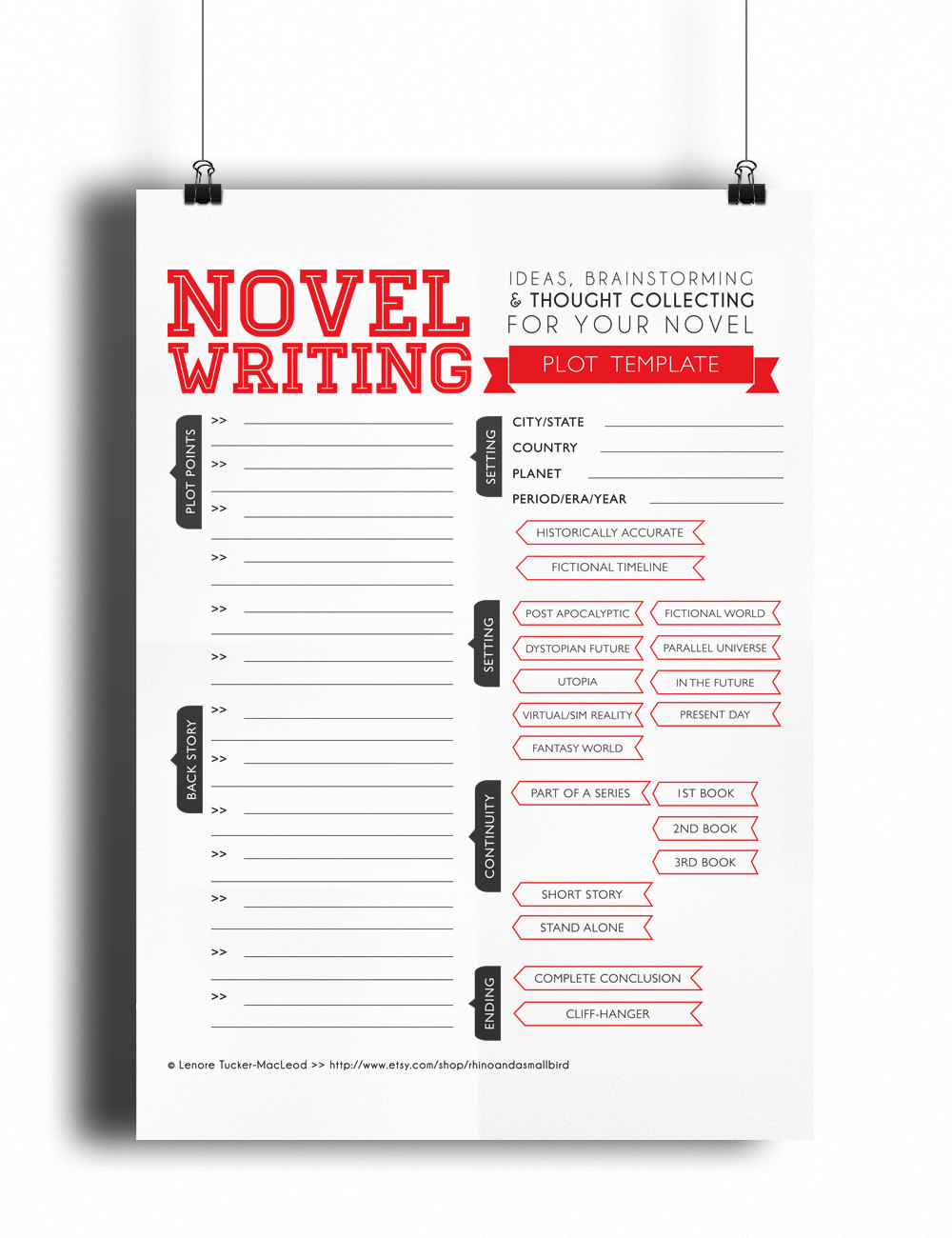 Novel in 30 Days Worksheet Index