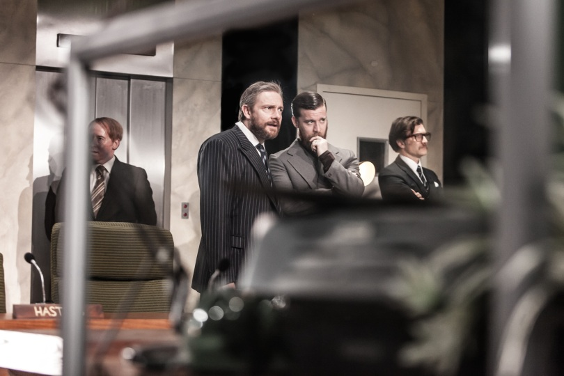 Forbes Masson as Hastings, Martin Freeman as Richard III, Philip Cumbus as Richmond and Jo Stone-Fewings as Buckingam. Photo credit: Marc Brenner. Richard III, London