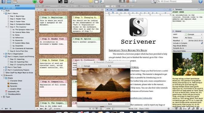 Scrivener, writing software, story board, notice bulletin, synopsis, novel, screenplay, plan, tutorial, webinar