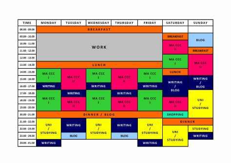 weekly, schedule, time, management, work, study, hobbies, organisation