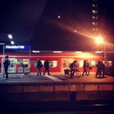 8pm at Düsseldorf Hauptbahnhof / Main Train Station in Germany. Platform 13 & 14 seen from Platform 12. Photo: Cornelia Kaufmann