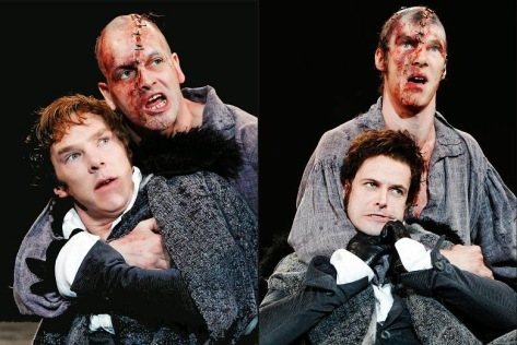 Left side: Jonny Lee Miller as The Creature and Benedict Cumberbatch as Victor Frankenstein. Right picture: Benedict Cumberbatch as Creature and Jonny Lee Miller as Victor Frankenstein. National Theatre Live