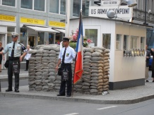 An allied guard at the rebuilt Checkpoint Charlie, Berlin. Now a popular tourist attraction, people have died at the Checkpoint after being shot during escape attempts. Photo: Cornelia Kaufmann