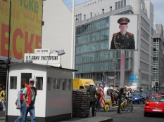 Rebuilt barrack of Allied Checkpoint Charlie, Friedrichstrasse, Berlin. Photo: Cornelia Kaufmann