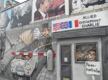 Caricature of an escape at Checkpoint Charlie, East Side gallery, Berlin. Photo: Cornelia Kaufmann