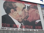 "Bruderkuss, Fraternal Kiss mural of Erich Honecker and Leonid Brezhnev by USSR artist Dmitri Vrubel entitled ""My God, Help Me To Survive This Deadly Love"" 1990, East Side Gallery. Photo by Cornelia Kaufmann"
