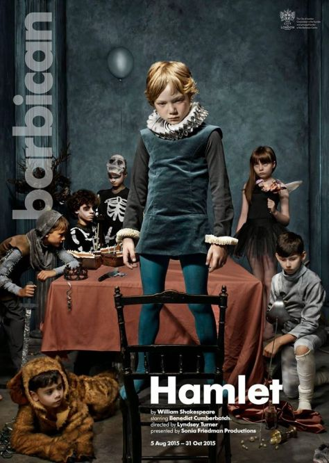 Promotional poster: Hamlet at the Barbican, August - October 2015, starring Benedict Cumberbatch.