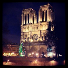 Notre Dame Cathedral at night. Photo by Cornelia Kaufmann