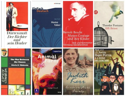 Year 10 books: Der Richter und sein Henker, Homo faber, Mutter Courage und ihre Kinder, Effi Briest, The war between the classes, Animal Farm, Bombs on Aunt Dainty, Harry Potter à l'école des sorciers