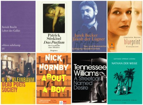 Year 11 books: Das Leben des Galilei, Das Parfum, Jakob der Lügner, Blueprint-Blaupause, Dead Poets Society, About a Boy, A Streetcar named Desire, Nathan der Weise