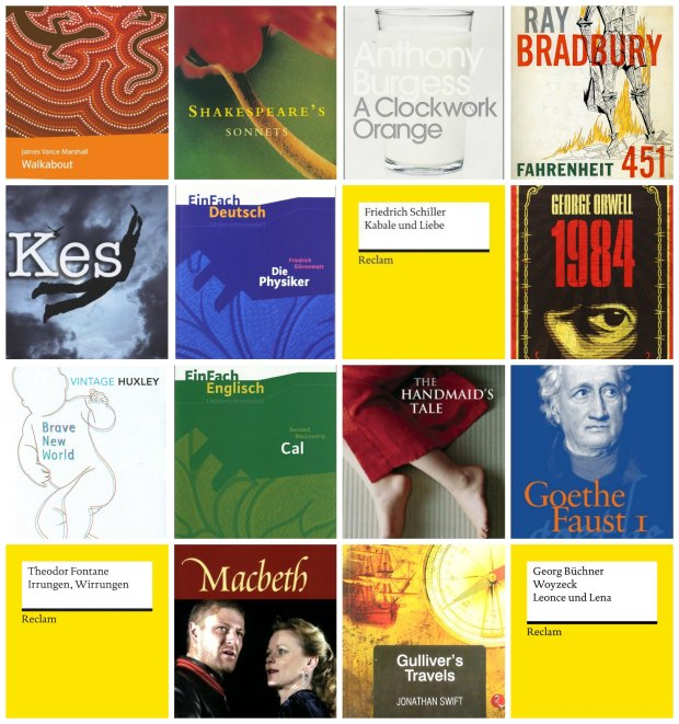 Year 12 Books: Walkabout, Shakespeare's Sonnets, A Clockwork Orange, Fahrenheit 451, Kes, Die Physiker, Kabale und Liebe, Nineteen Eighty-Four, Brave New World, Cal, The Handmaid's Tale, Faust I, Irrungen und Wirrungen, Macbeth, Gulliver's Travels, Woyzeck, Leonce & Lena