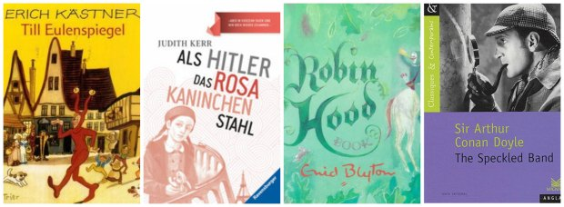 Year 6 books: Till Eulenspiegel, Als Hitler Das Rosa Kaninchen Stahl, Robin Hood and The Speckled Band
