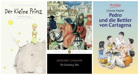 Year 7 books: Der kleine Prinz, The Canterbury Tales, Pedro und die Bettler von Cartagena