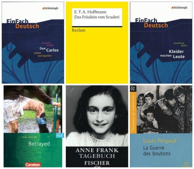 Year 8 Books: Don Carlos, Das Fräulein von Scuderi, Kleider machen Leute, Betrayed, Tagebuch der Anne Frank, La guerre des boutons