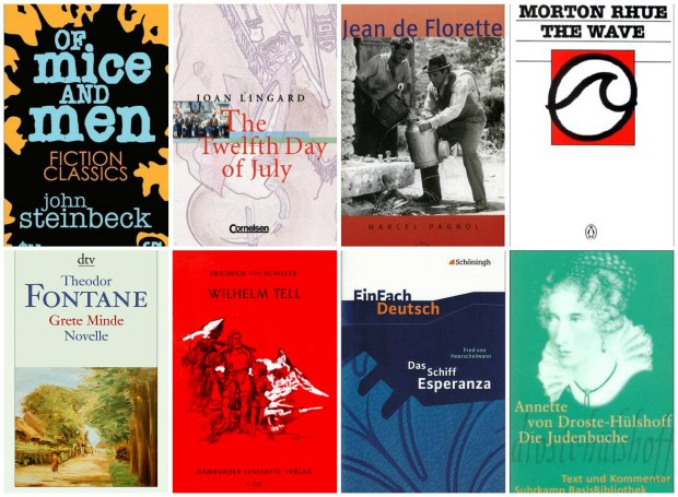 Year 9 books: Of Mice And Men, The Twelfth Day of July, Jean de Florette, The Wave, Grete Minde, Wilhelm Tell, Das Schiff Esperanza, Die Judenbuche