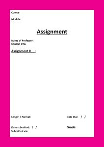 Assignment Cover Template