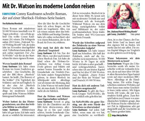 Interview with me by Katharina Moosbach, published on Karl. (Solinger Tageblatt) January 7, 2014