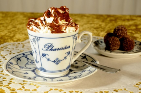 Pharisäer drink iwth hot coffee, rum and whipped cream. Delicacy from Nordfriesland. Photographer unknown
