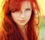 "Redhead Girl by Kristina Tararina. This was the inspiration photo for Samuel Silva's ""Redhead Girl Ballpoint Pen Portrait"""