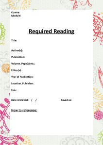 Required Reading Cover Template