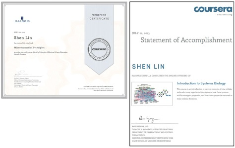 A Coursera Verified Certificate and a Coursera Statement of Accomplishment side by side. Verified Certificates are recognised and come with a fee. SoA's are usually free but not as recognised.