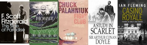 Debut novels by popular authors include This Side of Paradise by F. Scott Fitzgerald, The Hobbit by J.R.R. Tolkien, Fight Club by Chuck Palahniuk, A Study in Scarlet by Sir Arthur Conan Doyle and Casino Royale by Ian Fleming