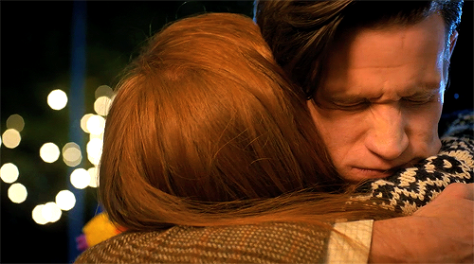Hug between the 11th Doctor (Matt Smith) and Amy Pond (Karen Gillan) and BBC's Doctor Who. Photo: BBC