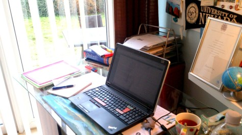 My desk right now. Photo by Cornelia Kaufmann
