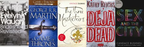 Books that inspired TV include Brideshead Revisited by Evelyn Waugh, Game of Thrones by G.R.R. Martin, The Three Musketeers by Alexandre Dumas, Déjà Dead by Kathy Reichs, Sex and the City by Candace Bushnell