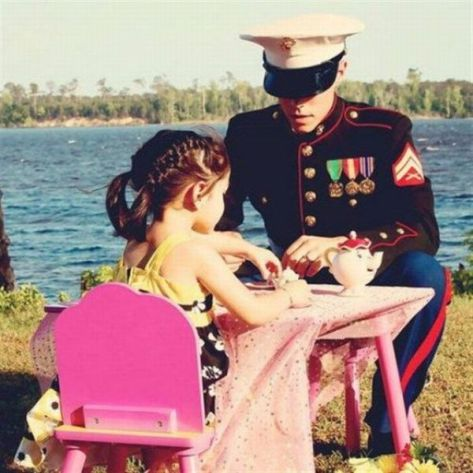 Her hero brother still comes home for make-believe tea. Photographer unknown