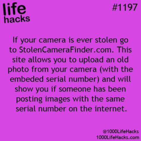 Life Hacks stolen camera finder