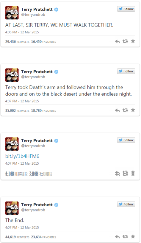 The way Sir Terry's death was announced by his Twitter team
