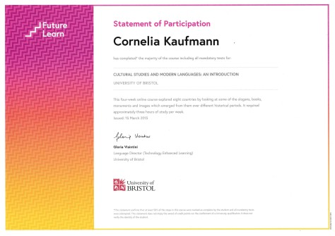 My FutureLearn Statement of Participation for the course Cultural Studies & Modern Languages at the University of Bristol.