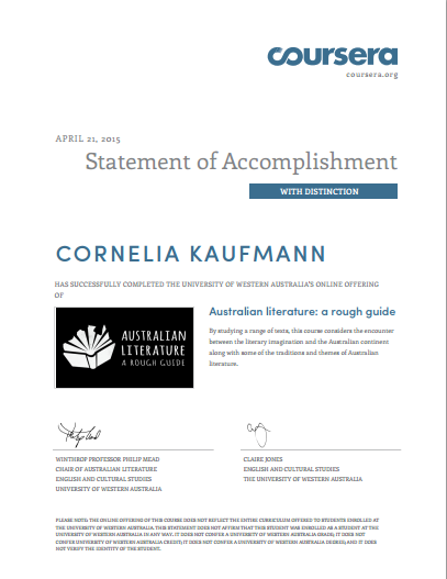 Australian Literature Statement of Accomplishment with Distinction