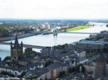View from the tower of Cologne Cathedral over the river Rhine and the colourful houses of the Alter Markt. Copyright Cornelia Kaufmann