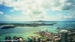The view of the CBD, Port of Auckland, Waitemata Harbour and Rangitoto Island from the Sky Tower. Copyright Cornelia Kaufmann
