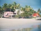 Beach view of casa iguana and Bar de Beto. Copyright Cornelia Kaufmann