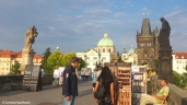 The pedestrian Karluv most is a popular spot for tourists and arts & crafts vendors. Copyright Cornelia Kaufmann