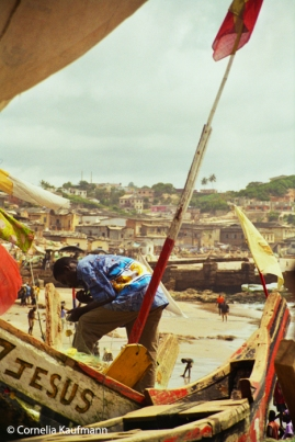 Fishing boats in the port below Cape Coast Castle. Copyright Cornelia Kaufmann