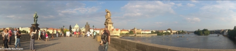 Panorama of the Charles Bridge, Old Town shore, Vltava river. Copyright Cornelia Kaufmann