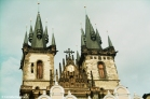 The famous spires of The Church of Our Lady of Týn overlooking Old Town Square. Copyright Cornelia Kaufmann