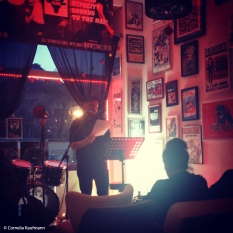 Author Marcel Krueger reading at the Rock 'n' Roll Benefizlesung for Cow Club, Solingen. Copyright Cornelia Kaufmann