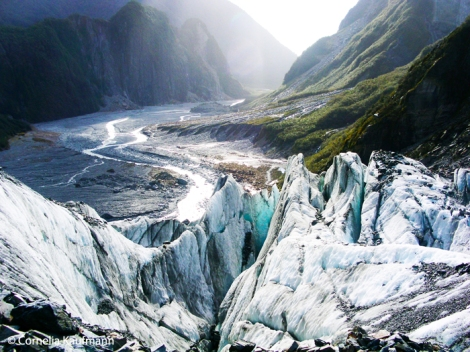 The Fox River as seen from the top of Fox Glacier. Copyright Cornelia Kaufmann