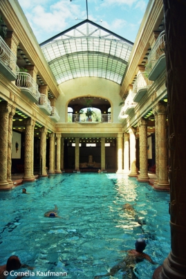 The big pool of the Gellért Baths. The glass roof can be fully opened. Copyright Cornelia Kaufmann