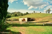 The horse yard and tack/feed shed as seen from the homestead. Copyright Cornelia Kaufmann