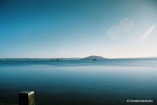 Early morning on Lake Rotorua, with three float planes on the water. Copyright Cornelia Kaufmann