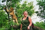 The stick is the only defense we have. Me with a lion cub. Copyright Cornelia Kaufmann