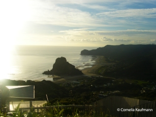 Piha Beach and the Lion Rock. Copyright Cornelia Kaufmann