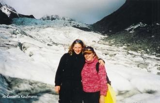 With a friend high up on Fox Glacier. Copyright Cornelia Kaufmann